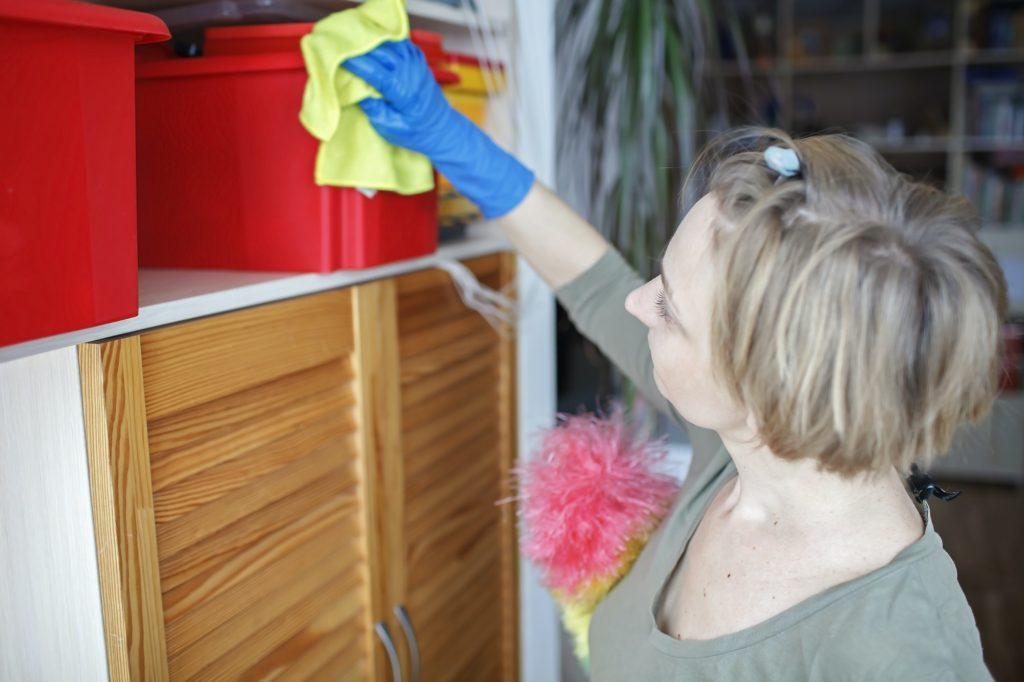Woman cleans home with vacuum cleaner, wipes dust from the shelves, washes window